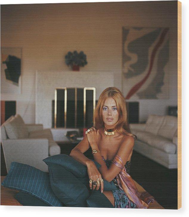 Living Room Wood Print featuring the photograph Britt Ekland by Slim Aarons