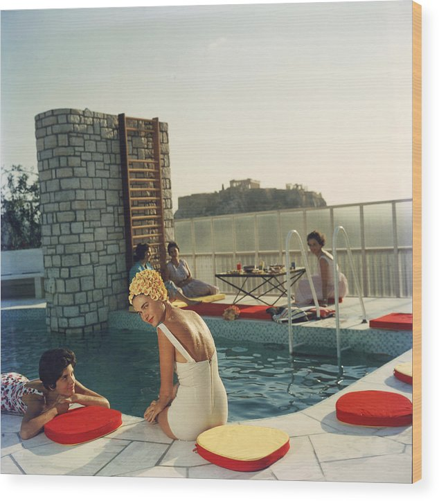 Looking Over Shoulder Wood Print featuring the photograph Penthouse Pool by Slim Aarons