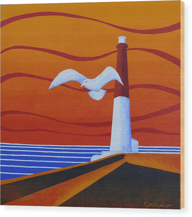 Lighthouse Wood Print featuring the painting Our Ol' Barney by James Cordasco