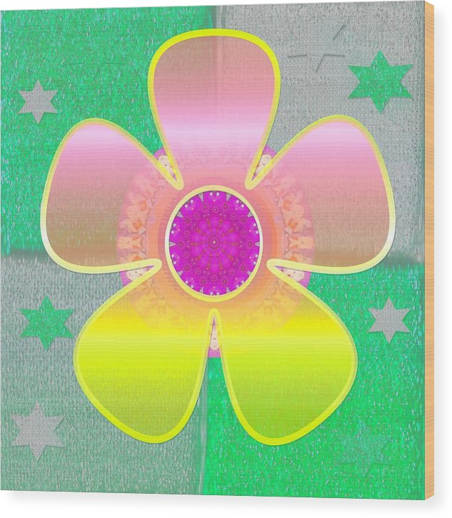 Floral Wood Print featuring the mixed media All In Part Two by Pepita Selles