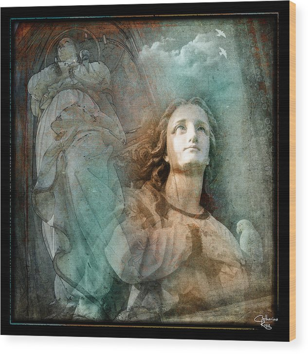 Angel Wood Print featuring the digital art Ascent by Catherine King
