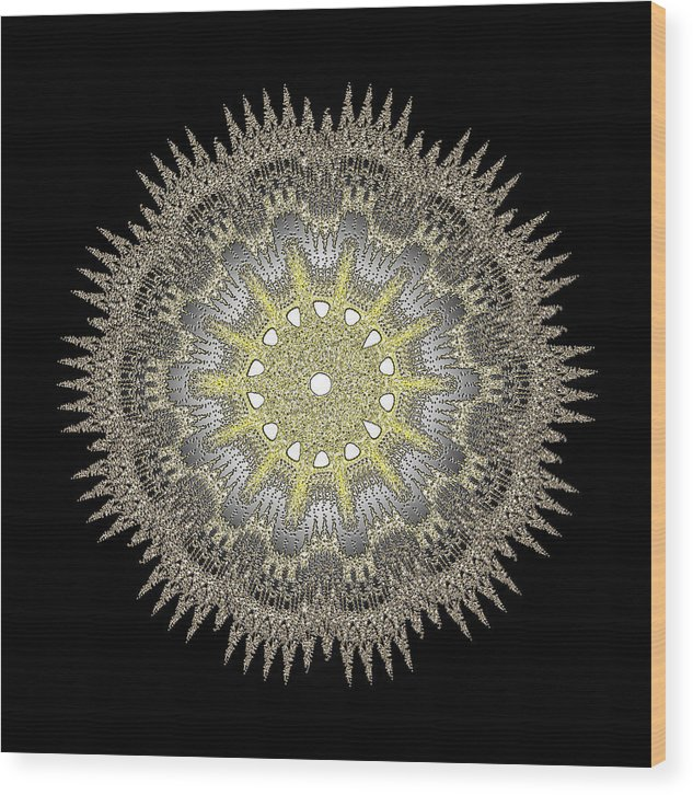 Hotel Wood Print featuring the digital art Mandala 1 by Jack Bowman