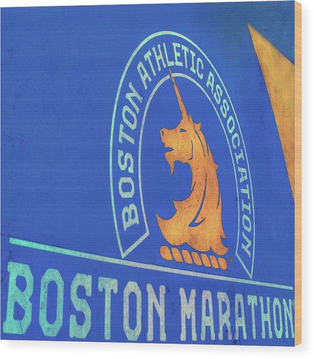 Wood Print featuring the photograph Boston Athletic Association - Boston Marathon by Joann Vitali
