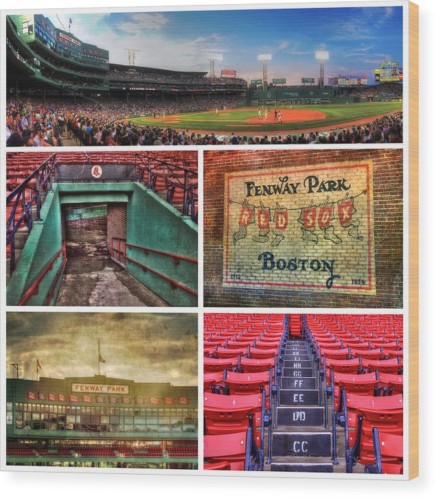 Red Sox Wood Print featuring the photograph Boston Red Sox Collage - Fenway Park by Joann Vitali
