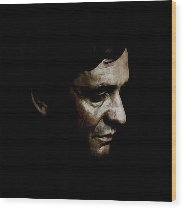 Johnny Cash Wood Print featuring the digital art Cash by Laurence Adamson