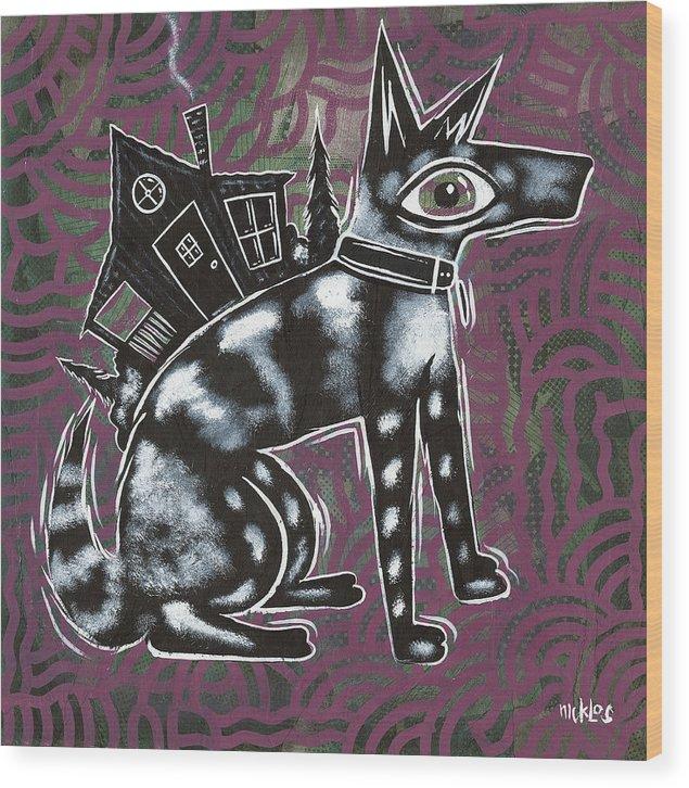 Folk Art Wood Print featuring the painting Dog House Folk Art by Nicklos Richards