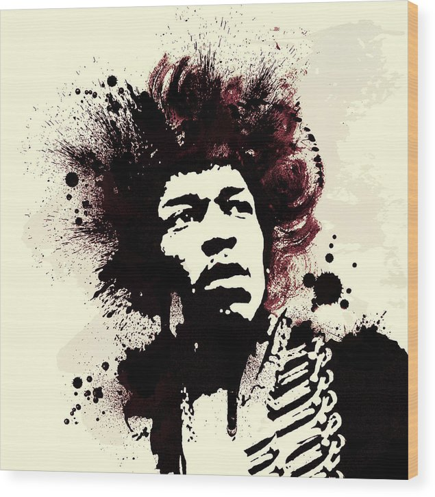 Jimi Hendrix Wood Print featuring the painting Jimi by Laurence Adamson