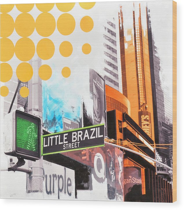 Ny Wood Print featuring the painting Times Square Little Brazil by Jean Pierre Rousselet