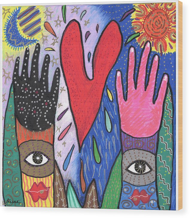 Multicultural Wood Print featuring the painting Two Hands by Sharon Nishihara