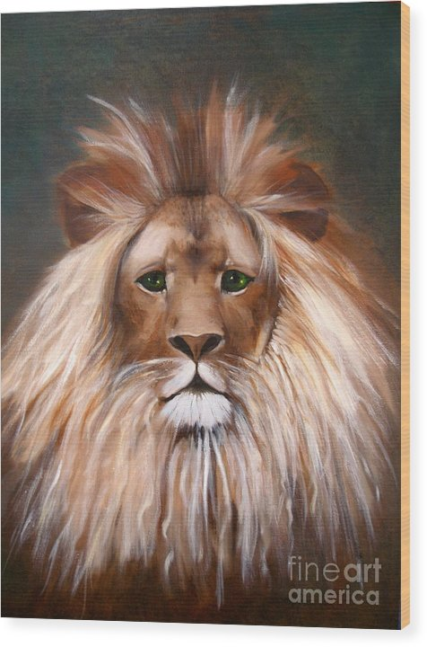 Lion Wood Print featuring the painting Lion Of Judah by Alma Pancir