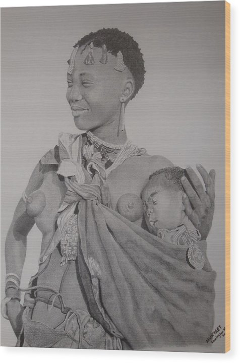 African Wood Print featuring the drawing Mother And Child by Lemington Muzhingi