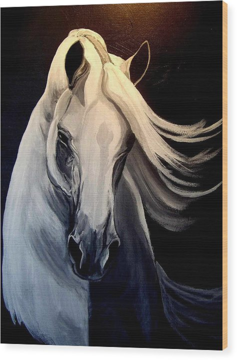 Euine Wood Print featuring the painting Andalusian Stallion by Glenda Smith