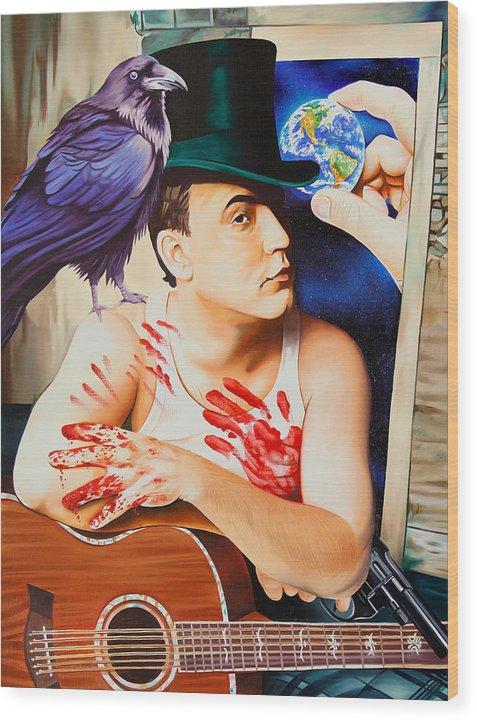Dave Matthews Wood Print featuring the painting Dave Matthews-raven by Joshua Morton