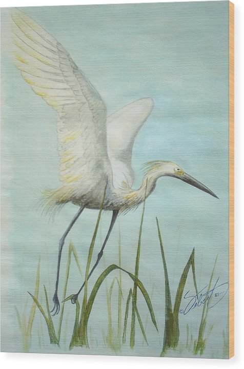 Bird Wood Print featuring the painting Egret In Flight by Dennis Vebert
