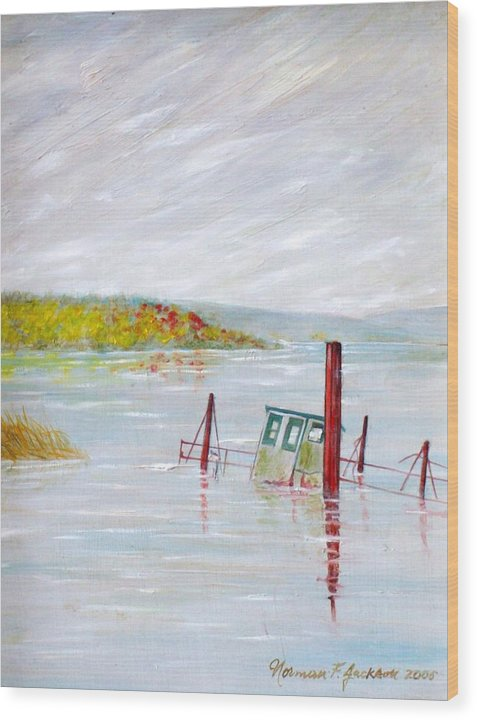 Water Wood Print featuring the painting Sunken by Norman F Jackson