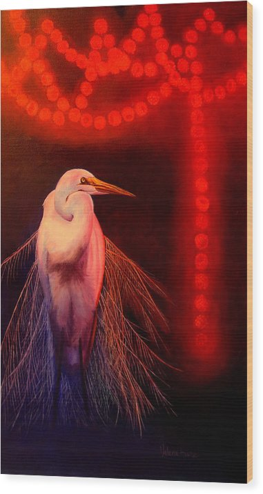 Bird Wood Print featuring the painting Rasberry Glow by Valerie Aune