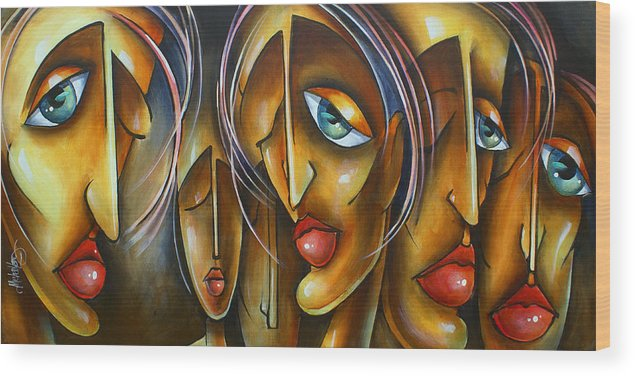 Portrait Wood Print featuring the painting ' Lost' by Michael Lang