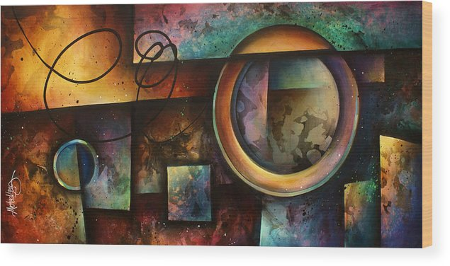 Abstract Wood Print featuring the painting ' The Rift ' by Michael Lang