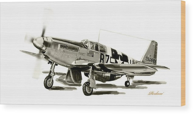 American P-51 Mustang Wood Print featuring the photograph Mustang P-51 by Tony Pierleoni