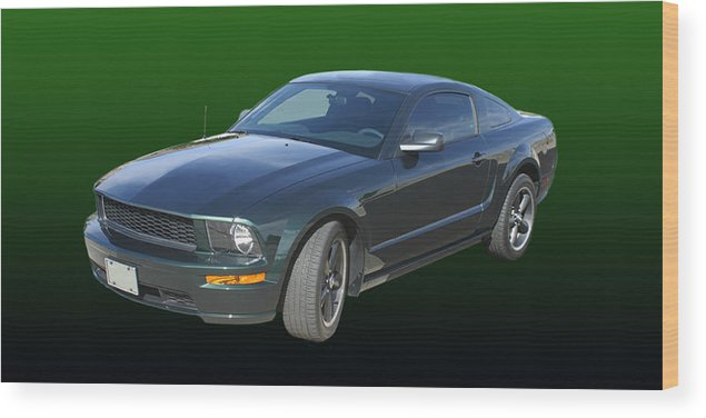 2008 Mustang Photography By Jack Pumphrey Wood Print featuring the photograph 2008 Mustang Bullitt by Jack Pumphrey