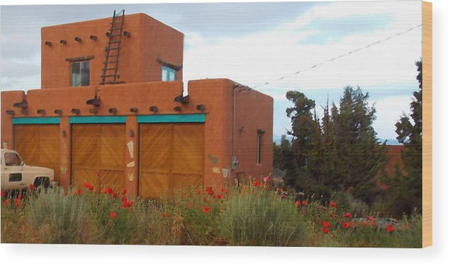 Adobe Wood Print featuring the photograph Adobe House And Poppies by Wendy Raatz Photography