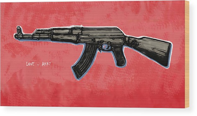 Ak - 47 Gun Drawin Art Poster Wood Print featuring the drawing Ak - 47 Gun Pop Art Drawin Poster by Kim Wang