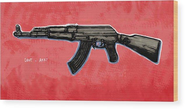 Ak - 47 Gun Pop Art Drawin Poster Wood Print