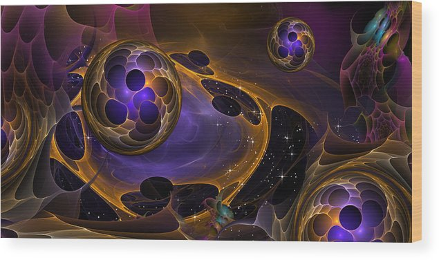 Phil Sadler Wood Print featuring the digital art Cell Forms 2 by Phil Sadler