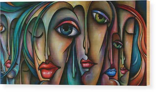 Urban Art Wood Print featuring the painting Dreamers 2 by Michael Lang