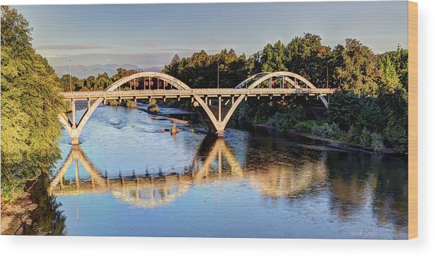 Bridge Wood Print featuring the photograph Good Morning Grants Pass by Heidi Smith