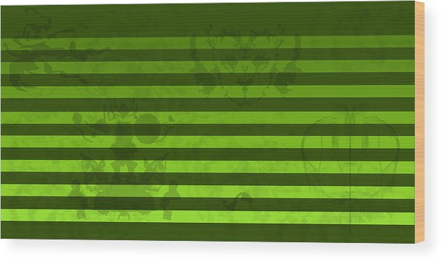 Green Wood Print featuring the digital art Green Lines And Feelings by Jessica Holter