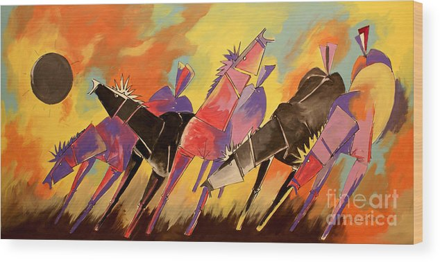 Horses Wood Print featuring the painting Horses by Real ARTIST SINGH