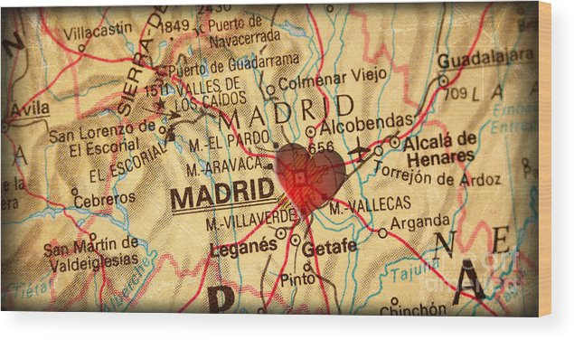 Map Of Madrid Spain Espana Europe In A Antique Distressed Vintag Wood Print