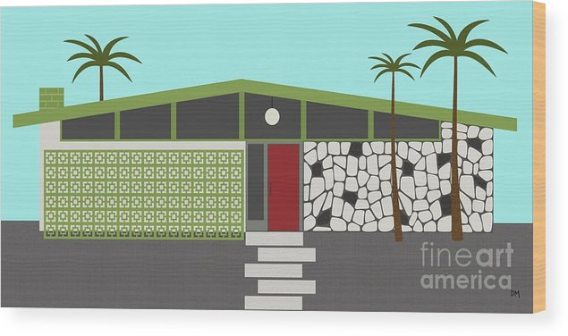 Mcm Wood Print featuring the digital art Mid Century Modern House 4 by Donna Mibus