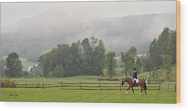 Dressage Wood Print featuring the photograph Misty Morning Ride by Joan Davis