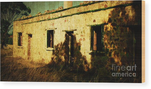 Vintage Wood Print featuring the photograph Old Farm Building by Phill Petrovic