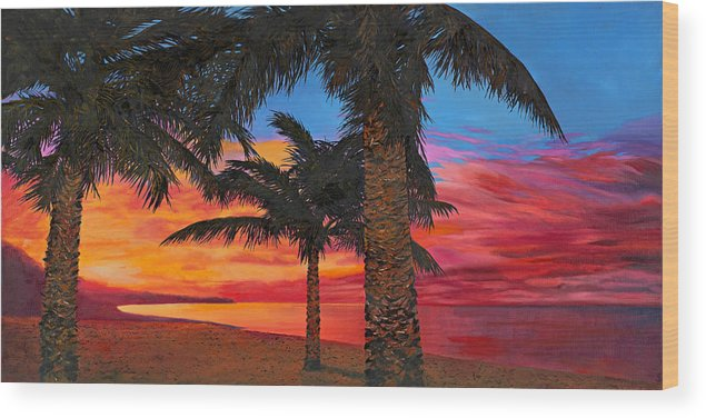 Seacape Wood Print featuring the painting Palme Al Tramonto by Guido Borelli