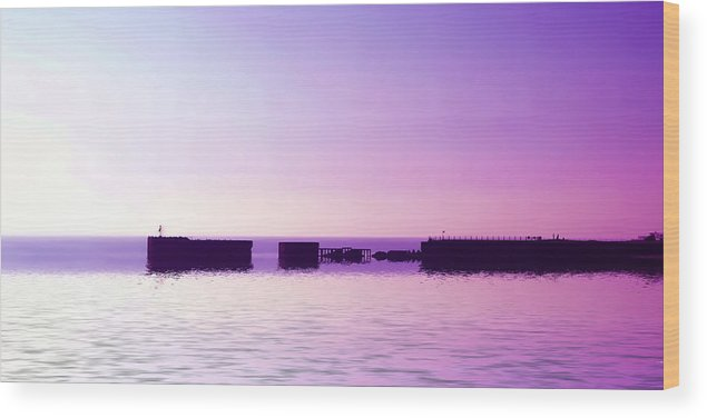 Harbor Wood Print featuring the digital art Purple Harbor by Sharon Lisa Clarke