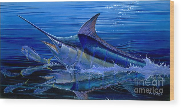 Marlin Wood Print featuring the painting Reflections Off0058 by Carey Chen
