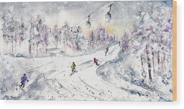 Travel Wood Print featuring the painting Skiing In The Dolomites In Italy 01 by Miki De Goodaboom