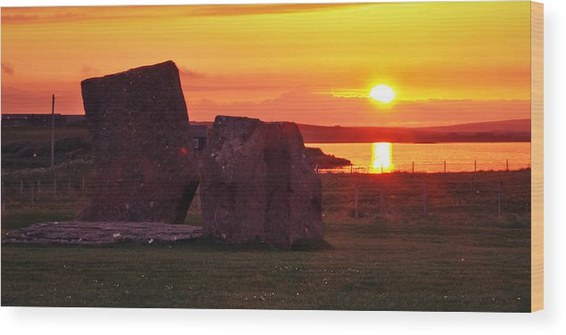 Sunset Wood Print featuring the photograph Stenness Sunset 2 by Steve Watson