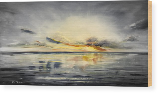 Sunset Wood Print featuring the painting Sunset 384 Panoramic by Gina De Gorna