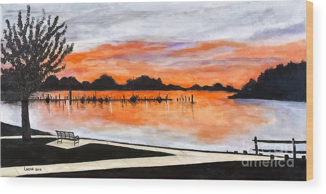 Lake Wood Print featuring the painting Sunset On The Lake By Lucia Van Hemert by Sheldon Kralstein