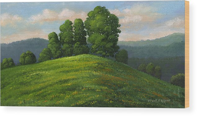 Landscape Wood Print featuring the painting Toboggan Hill by Frank Wilson