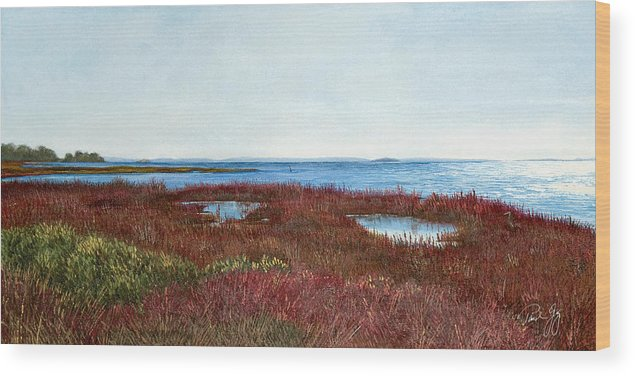 West Florida. Coast Panhandle Wood Print featuring the painting West Florida Panhandle Looking Towards The Gulf by Paul Gaj