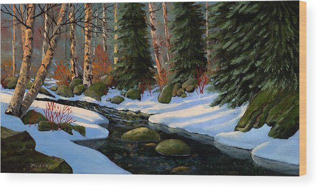 Landscape Wood Print featuring the painting Winter Brook by Frank Wilson