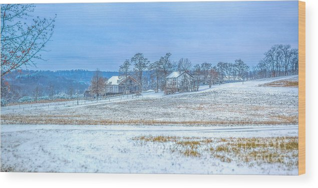Winter Farm Wood Print featuring the photograph Winter Farm by Randy Steele