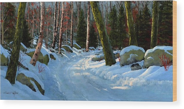 Landscape Wood Print featuring the painting Winter Road by Frank Wilson