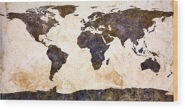 Earth Wood Print featuring the painting World Map Abstract by Bob Orsillo