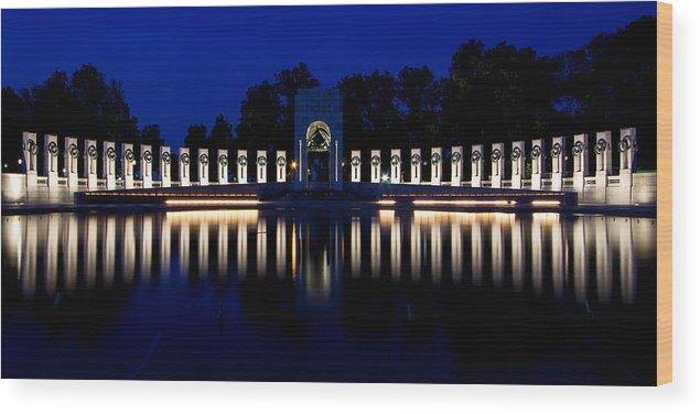 World War Ii Memorial Wood Print featuring the photograph World War II Memorial by Tami Stieger